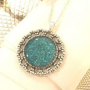 Aqua glitter pendant